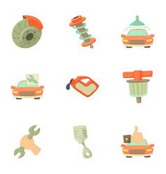 maintenance car icons set cartoon style vector image