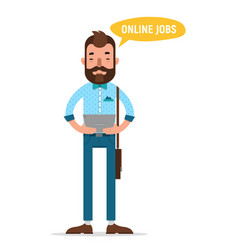 Man looking for job through online service vector