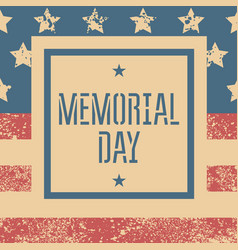 memorial day retro poster with usa flag vector image