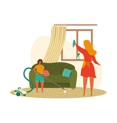 mother and child boy doing homework cleaning home vector image