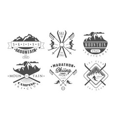 mountain camping and skiing retro logo templates vector image