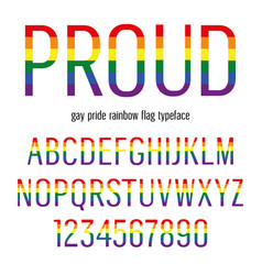 multicolored celebrate pride typeface abc vector image