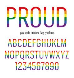 Multicolored celebrate pride typeface abc vector