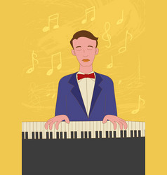 Naive art of a pianist vector