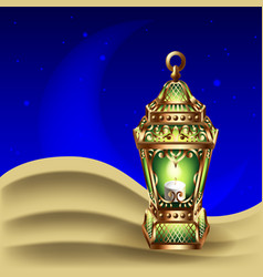 Night background with vintage gold lantern vector