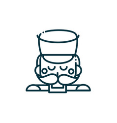 nutcracker soldier happy christmas line icon vector image