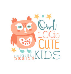 owl logo cute kids original design baby shop vector image
