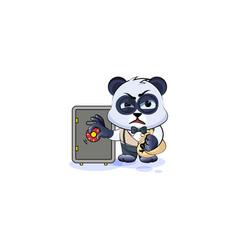 Panda bear in business suit open safe hide money vector