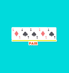 paper sticker on stylish background poker pair vector image
