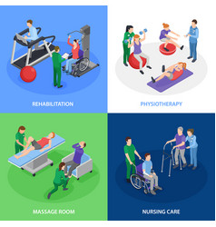 physiotherapy rehabilitation isometric concept vector image