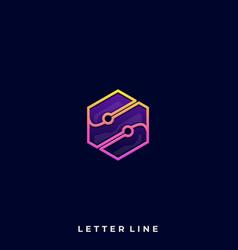 polygon letter design template vector image