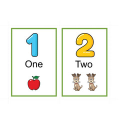 Printable number flashcards for teaching number vector