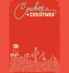 red christmas card with western cowboy vector image