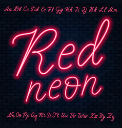 Red neon script uppercase and lowercase letters vector