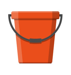 red plastic bucket with handle vector image