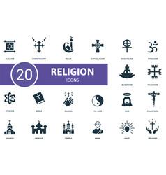 Religion icon set contains editable icons vector
