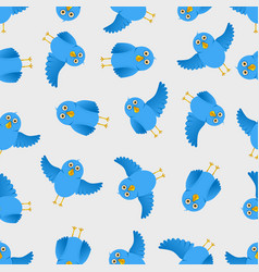 Seamless blue bird pattern vector