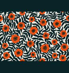 seamless floral pattern retro style red poppies vector image vector image