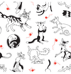 Seamless pattern with playing cats of different vector