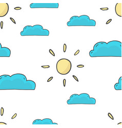 seamless sun and clouds pattern vector image