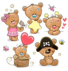 set cartoon teddy bears on a white background vector image
