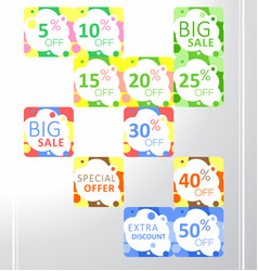 set of colorful abstract seamless sale stickers vector image