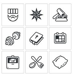 Set of Prison Icons Prisoner Tattoo vector image