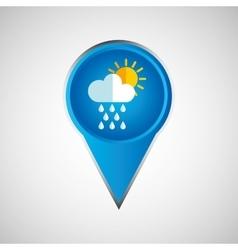 Signal weather rain cloud sun pin design vector