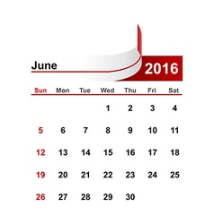 Simple calendar 2016 year june month vector