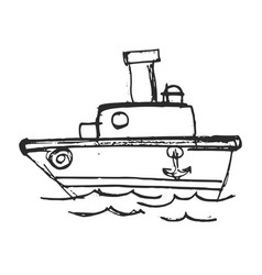 Sketch funny steamboat vector