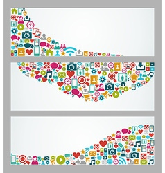 Social media icons web banner set vector