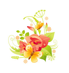 Spring flower icon gladiolus floral symbol with vector