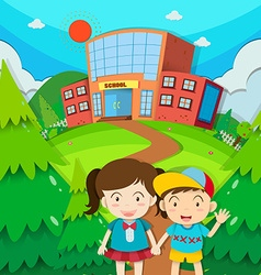 Students boy and girl at school vector