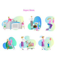 Super busy mom collection set vector