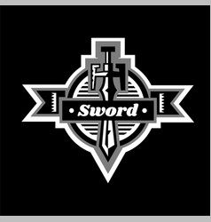 Sword logo located on the shield lettering on a vector