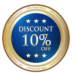 Ten Percent Discount Blue Medal vector image