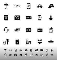 Travel luggage preparation icons on white vector