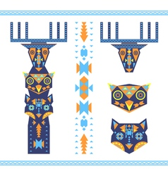 Tribal totem with the heads of deer owl and wolf vector