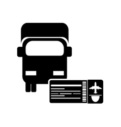 Truck or van with boarding pass icon vector