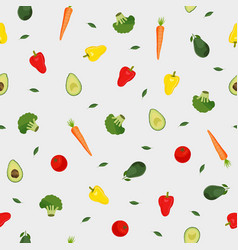 vegetables seamless pattern on white background vector image