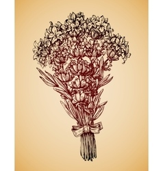 Vintage bouquet of flowers Hand drawn retro vector image