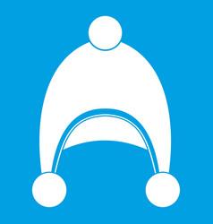 Warm hat icon white vector