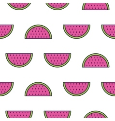 Watermelon line icon seamless pattern vector image