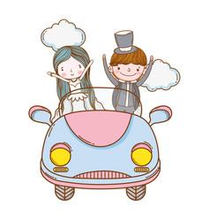 wedding couple marriage cute cartoon vector image