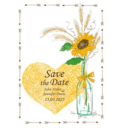 Wedding invitation with mason jar and sunflower vector