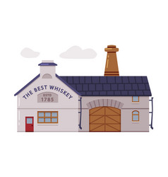 Whiskey house or factory facade with himney vector