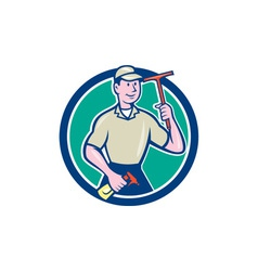 Window Washer Cleaner Squeegee Cartoon vector