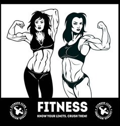 womans fitness showing muscles - female fitness vector image