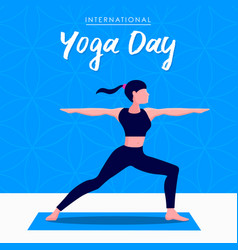 Yoga day card woman in warrior pose vector