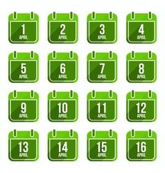 April flat calendar icons Days Of Year Set 13 vector image